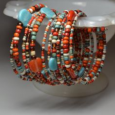 12-Strand Loose Wire Glass Bead Cuff Arm Party Stacker Sedona. MEMBER - Sister Moon Jewelry Co.