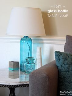 Tutorial: how to make a DIY lamp from a glass bottle or vase (love the color of this lamp, too!)