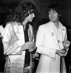 Jimmy Page of Led Zeppelin with Paul McCartney of the Beatles