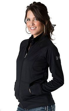 58c854edddd1be Under Armour® Womens Black Craze Full Zip Long Sleeve Jacket | Cavenders Under  Armour Jackets