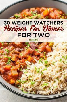 These 30 different amazing Weight Watchers Recipes for Dinner for Two make it easier to cook a deliciously healthy dinner that doesn't create leftovers. Recipes for 2 30 Weight Watchers Recipes for Dinner Plats Weight Watchers, Weight Watchers Meal Plans, Weight Watchers Snacks, Weight Watcher Dinners, Weight Loss Meals, Weight Watchers Jambalaya Recipe, Weight Watcher Breakfast, Weight Watchers Freezer Meals, Weight Watchers Lasagna