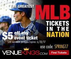 Lucky Savings $17 Off Tickets at Venue Kings! Mlb Tickets, Event Ticket, Coding, Events, Baseball Cards, Programming