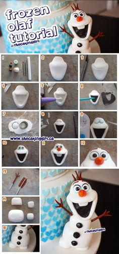 How to make Disney Olaf figurine cake topper tutorial. Step by step how to guide, gumpaste/fondant or clay, to make Olaf figurine.  www.thecakinggirl.ca