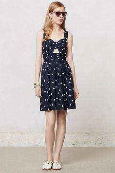 anthropologie - dress for hot weather - love the navy and white dots