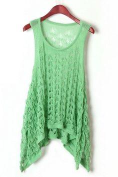 Crocheted Sleeveless Tee OASAP.com