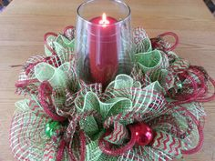 Check out this item in my Etsy shop https://www.etsy.com/listing/208012443/deco-mesh-christmas-table-centerpiece