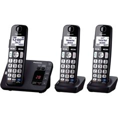 PANASONIC KX-TGE233B DECT 6.0 Plus Expandable Digital Cordless Answering System (3-Handset System)