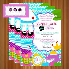 Alice in Wonderland Teacup Tower UnBirthday Party Invitation Cards