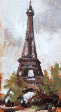 Paris Landscape Painting, Eiffel Tower, Paris , 5.5x10 oil painting on artist canvas board