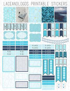 Printable Planner Stickers Blue Ocean Banners by LaceAndLogos