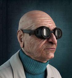 """Professor Hubert J. Farnsworth, de """"Futurama"""", desenhado como se fosse de carne e osso."""