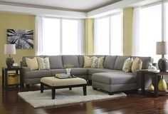 ASH24302-55-77-34-46-17 5 pc Chamberly I collection alloy fabric upholstered sectional sofa with squared arms and chaise