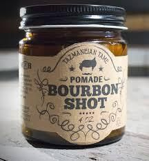 Bourbon Shot pomade by Tazmaneian Tame with real Kentucky bourbon has a masculine oak aged vanilla bourbon aroma that remains throughout the day