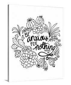 Be Anxious For Nothing Coloring Canvas