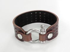 Brown Leather Cuff Leather Bracelet with Stainless от BeadSiam