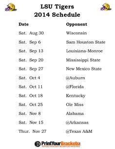 LSU Tigers Football Schedule 2014