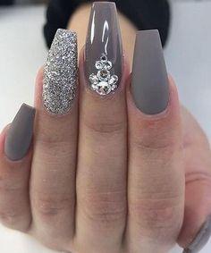 Gray and Glitter Acrylic Nail Art Design . Nails Gray and Glitter Acrylic Nail Art Design … - Nail Design Ideas! Acrylic Nails Stiletto, Best Acrylic Nails, Acrylic Nail Art, Acrylic Nail Designs, Nail Art Designs, Coffin Nails, Nails Design, Matte Gray Nails, Nail Crystal Designs