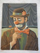 """Vintage 1963 Signed Paint By Number Emmett Kelly Sad Hobo Circus Clown 12"""" x 16"""""""