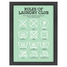 Laundry Club Framed Print in Mint.