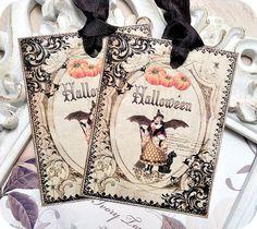NEW  Vintage Cottage Halloween Tags  Set by LittlePaperFarmhouse, $5.95