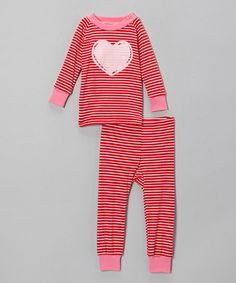 Another great find on #zulily! Red Stripe Heart Pajama Set - Infant, Toddler & Girls #zulilyfinds