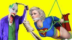 Spiderman và Công Chúa Elsa Joker Trói Supergirl Superhero Đời Thực