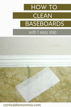Just 1 product and 1 step is needed to easily clean your baseboards. #cleaninghacks #cleanbaseboards #cleaning Baseboards, Spring Cleaning, Cleaning Hacks, Easy, Projects, Log Projects, Skirting Boards, Baseboard, Cleaning Tips
