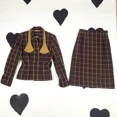 1940's wool velvet suit set 40's checkered matching skirt and jacket / plaid / collared / gray red yellow / secretary / pinup / xs 25 waist by verybestvintage on Etsy https://www.etsy.com/nz/listing/454244638/1940s-wool-velvet-suit-set-40s-checkered