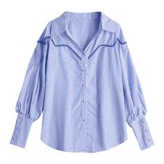 Puff Sleeve Button Up Striped Shirt (104610 PYG) ❤ liked on Polyvore featuring tops, blouses, striped button-down shirts, button down shirt, blue stripe shirt, striped shirt and button up shirts
