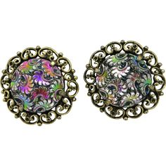 Judy Lee Iridescent Flower Swirl Gold Tone Clip-on Earrings. Vintage Jewelry under $25 at Ruby Lane @Ruby Lane