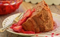 Chocolate Angel Food Cake with Strawberries | Recipe from Trisha's Table: My Feel-Good Favorites for a Balanced Life by Trisha Yearwood