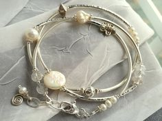Sterling Silver and Pearl Wrap Bracelet with by bebesartanddesign