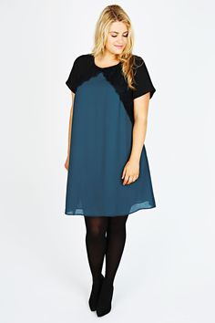 Teal Chiffon Swing Dress With Black Panels And Lace Trim