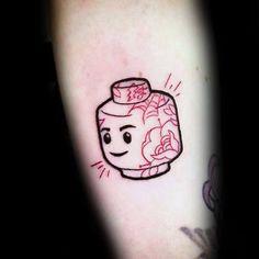 60 Lego Tattoo Designs For Men - Toy Building Block Ink Ideas Line Art Tattoos, Life Tattoos, Tattoo Drawings, Tattoos For Guys, Cool Tattoos, Lego Tattoo, Beginner Tattoos, Sick Tattoo, Skin Art