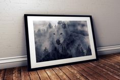 Double Exposure WOLF Black and White Art Print Nature Photography Modern Photograph Wall Decor Print Animal Wilderness Fog High Resolution by JerseyVintageCool on Etsy https://www.etsy.com/listing/450199530/double-exposure-wolf-black-and-white-art