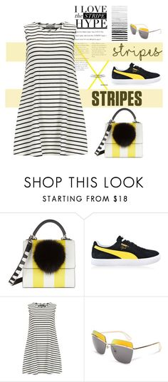 """Black & Yellow Stripes"" by youaresofashion ❤ liked on Polyvore featuring Les Petits Joueurs, Puma, Alice & You and under100"