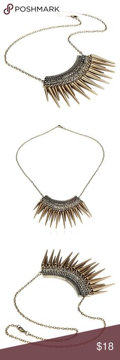 """Bronze Spike Fringe Statement Necklace 🍍BIG SUMMER JEWELRY SALE🍍  JUST IN! I ❤️ edgy boho baubles! Gorgeous statement chain necklace featuring spike fringe pendants of varying length. 😍 Boutique - brand new! Nickel-free zinc alloy. Approx. 18"""" adjustable chain.  ❌No trades/holds. Boutique Jewelry Necklaces"""