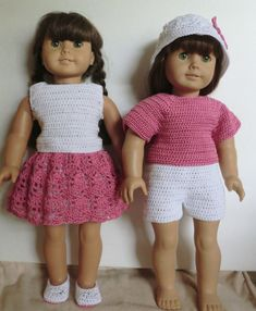 """This is for the """"PATTERN"""" only Not the completed item Fits the American Girl, and other 18 inch cloth body dolls. The entire outfit was made using Size 3 cotton thread and a #B/1 hook (2.25mm) Pattern consists of shorts, half slip, skirt, tank top, short sleeve top, hat and shoes. The"""