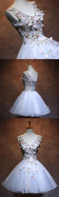 Tulle Sleeveless Homecoming Dress, Applique Homecoming Dress, V-Neck Junior School Dress, 17808 #homecoming
