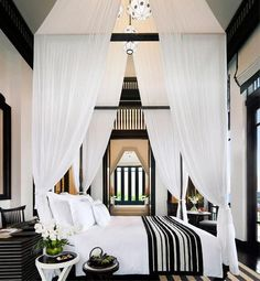 Supersize canopy meets black-and-white chic...yes! #decorating #interior #design