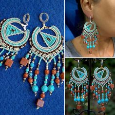 #bohemian #boho #macrame #women #earrings Available at Birbyzos Sleptuve etsy shop!