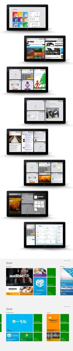 Toolbox for Windows 8 by Elsida Konakciu, via Behance *** Toolbox is designed to bring unparalleled productivity enhancement to the Windows 8 platform. With Toolbox, you can view and interact with up to 6 different tools at once, giving you the power and flexibility to customize your workspace for maximum productivity.
