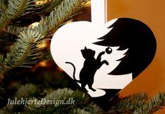 Killing julehjerte, kat på julehjerte, dyremotiv, skabelon, julehjertedesign