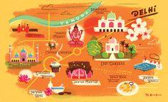 Cartoon Map of Delhi, India - Owen Gatley Delhi Map, Delhi India, Contact Instagram, Country Maps, Graphic Illustration, Map Illustrations, Travel Illustration, Map Design, Book Projects