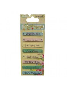 The Good Craft Shop: Dovecraft Forget Me Not Sentiment Toppers. Pack contains 8 adhesive sentiment toppers.