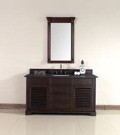 "James Martin 238-104-5331-ABK Savannah 60"" Sable Single Vanity with Absolute Black Polished Stone Top"