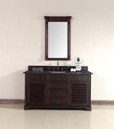 "James Martin 238-104-5331-ABK Savannah 60"" Sable Single Vanity with Absolute Black Polished Stone Top"