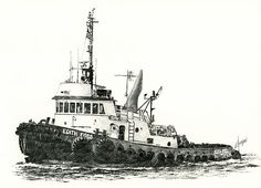 Tugboat Edith Foss by James Williamson - Tugboat Edith Foss Drawing - Tugboat Edith Foss Fine Art Prints and Posters for Sale