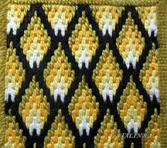 "VITALINNA: Ma broderie ""BARGELLO"" Motifs Bargello, Broderie Bargello, Bargello Patterns, Bargello Needlepoint, Bargello Quilts, Needlepoint Stitches, Afghan Crochet Patterns, Plastic Canvas Coasters, Plastic Canvas Crafts"