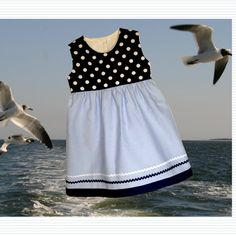Nautical Collection - Blue and White Girl Dress - baby, toddler, girl - from 3 months up to 2T by NewBundleOfJoy on Etsy.